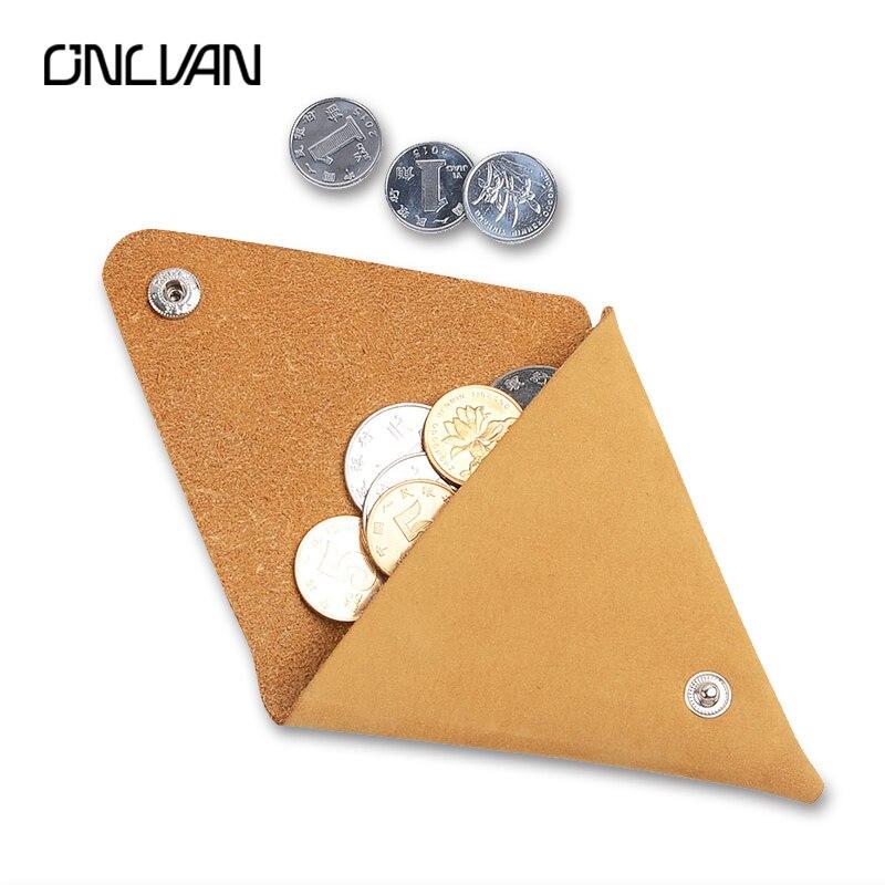 ONLVAN ручной работы Пояса из натуральной кожи отделение для монет минималистский Стиль Кошелек для монет специальный коричневый Цвет приним...