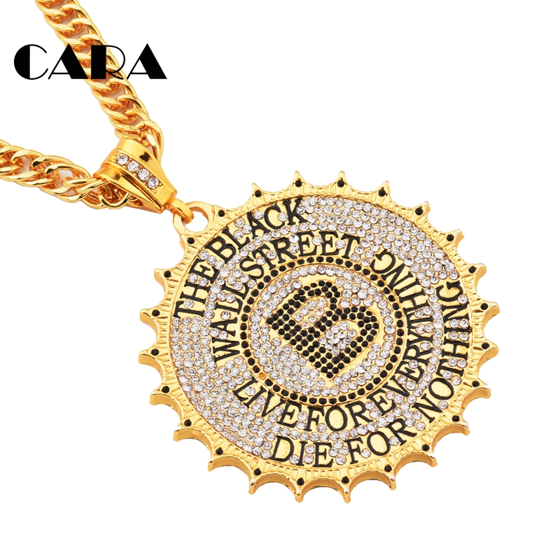 2019 New White crystals Iced Out Bling Bling mens necklace Gold color Zinc alloy hip hop necklace for men jewelry CAGF0364