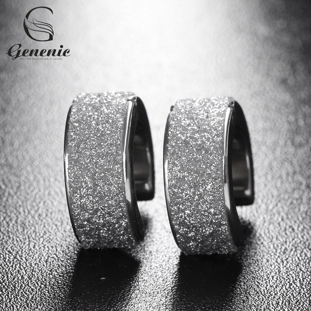 1 Paar Unisex Titan Stahl Creolen Silber Sand Papier Ohrringe Schmuck Neue Für Mode Frau Männer Nizza Gif