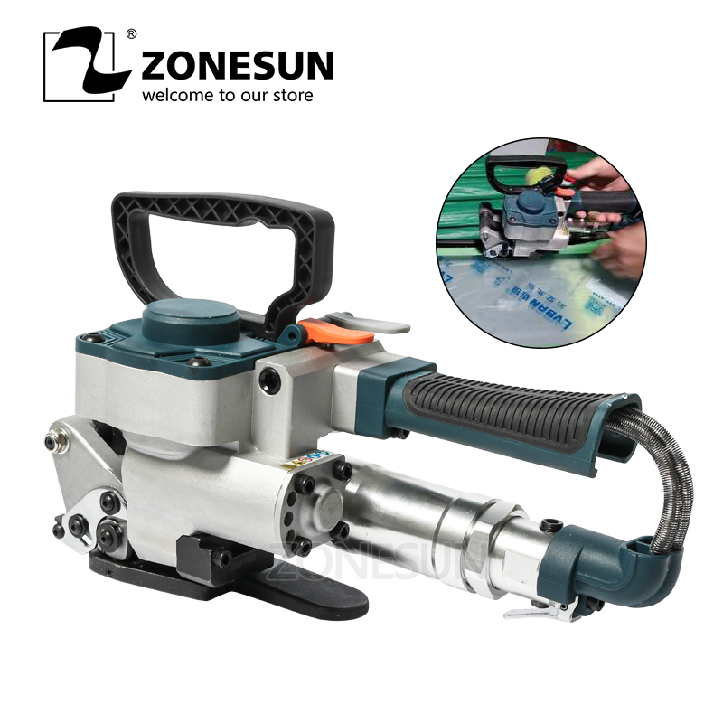 ZONESUN Pneumatic Friction Welding Baler Strapping Machine Air PET Banding Machine Tool For 13 19mm Width PET Straps Machine Centre     - title=
