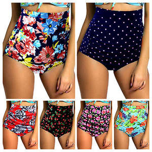 Women 5 Style High Waist Swimwear 2017 Swimsuit Panties Lady Floral Bikini