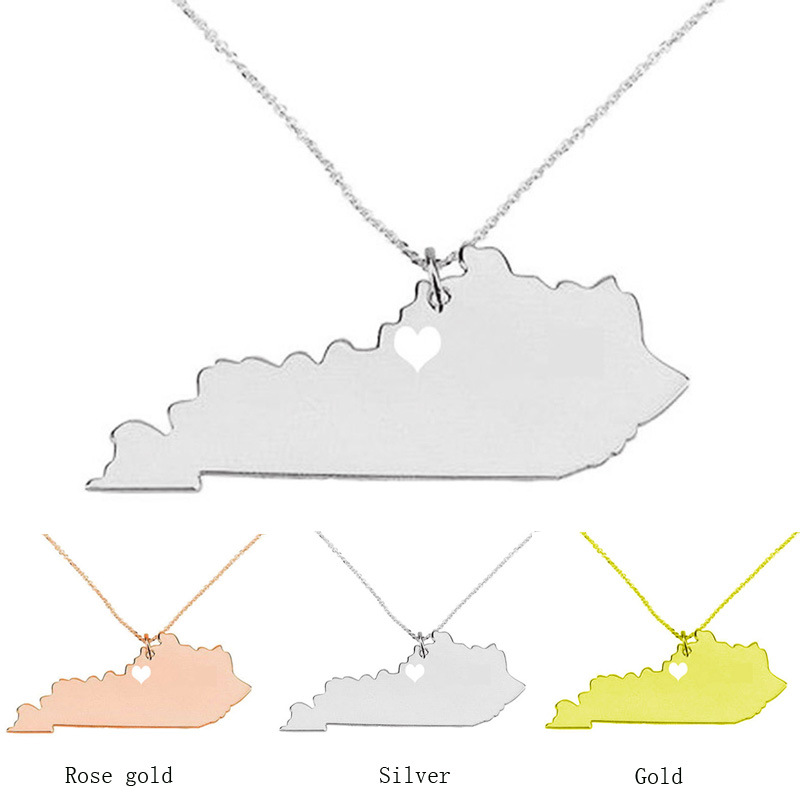 Kentucky necklace 316L stainless steel American state hollow heart map necklace statement pendant necklace jewelry