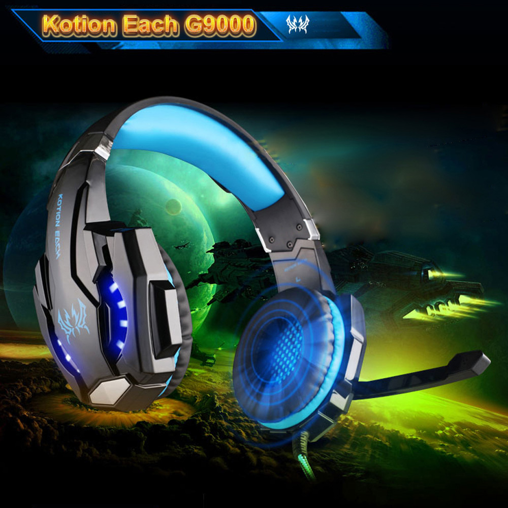 KOTION EACH G9000 3.5mm Gaming Headphone Game Headset Headband With Mic LED Light For PS4 Laptop Tablet Mobile Phones ndju g9000 bass gaming headphone ps4 headset earphone with 3 5mm led light player gamer headphones with mic for pc laptop phones