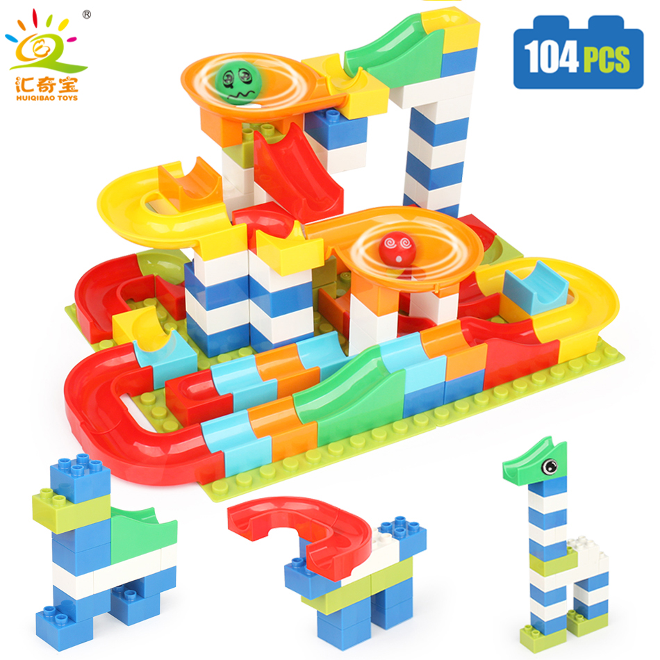 104PCS DIY Race Run Maze Balls Slide Track Building Blocks Compatible Legoed Duploe Animals Figures Toys
