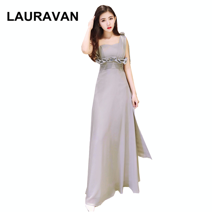 Gray Chiffon Maid Of Bride One Shoulder Elegant Bridesmaid Ladies Cheap Long Adult Dress Gray Bridemaid Dresses To Party Gown