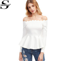 Sheinside Women Blouse Long Sleeve Elegant Blouse White Tops New Arrival White Scallop Off The Shoulder