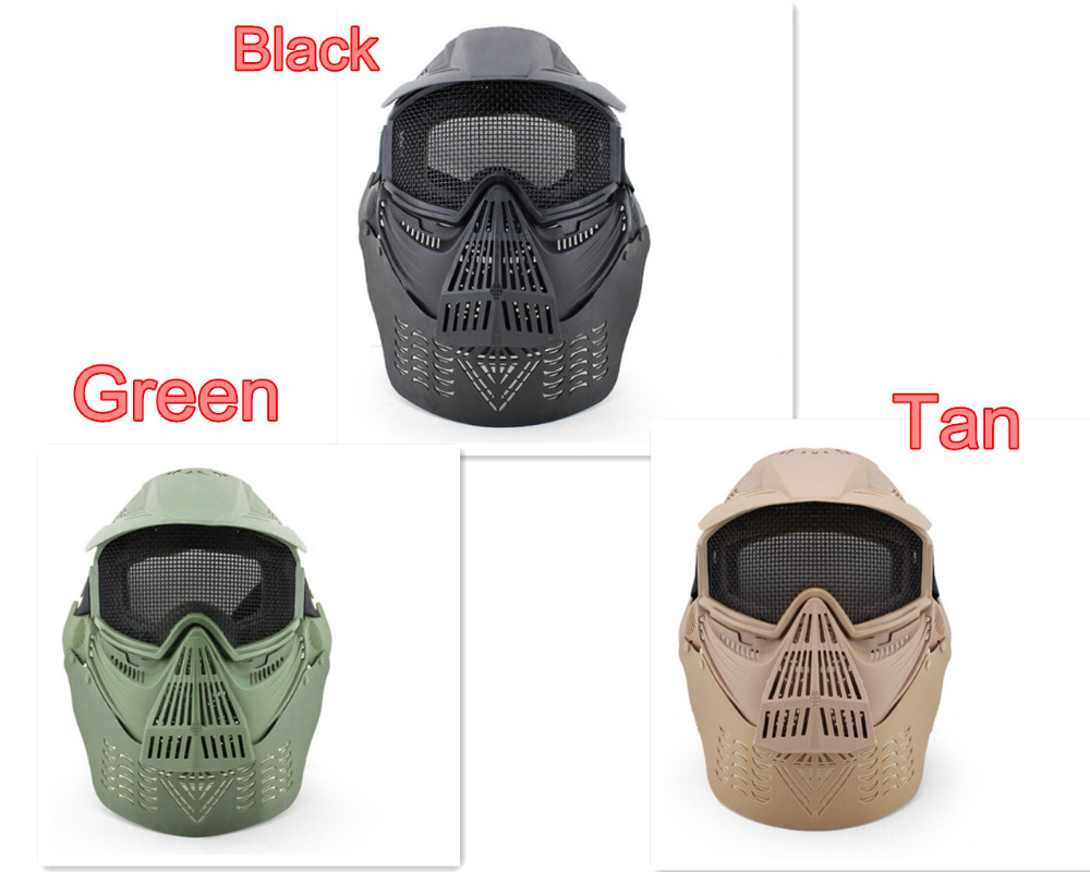 3colors Outdoor Mesh Wargame Mask Tactical Full Face Airsoft Paintball CS Equipment Hall ...