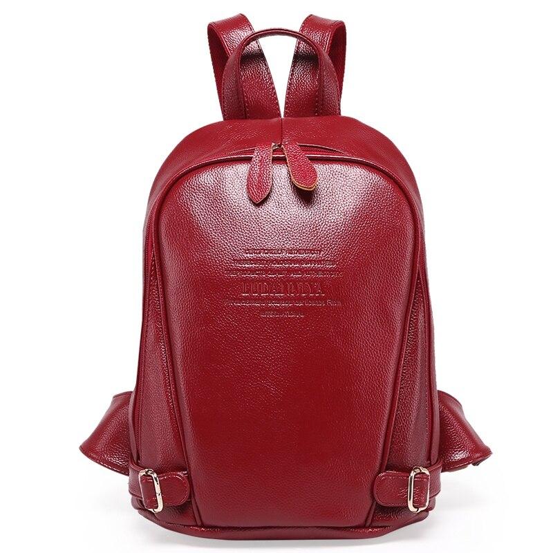 GENUINE LEATHER Fashion font b Women b font font b Backpack b font Girl Student School