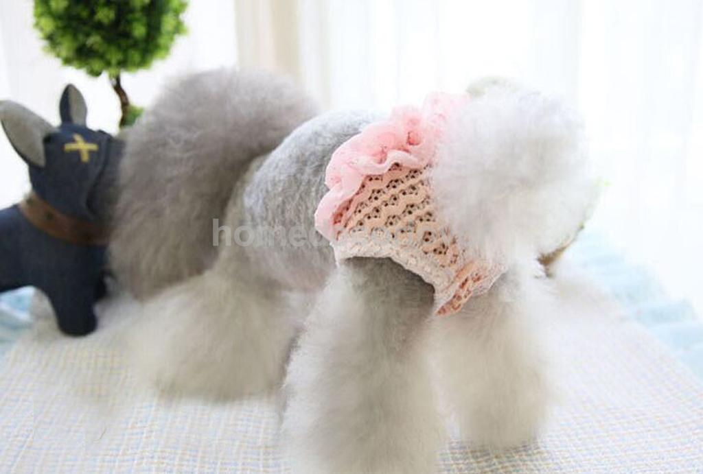 Female Dog Puppy Physiological Pants Diaper Sanitary Underwear Lace Pink Size S
