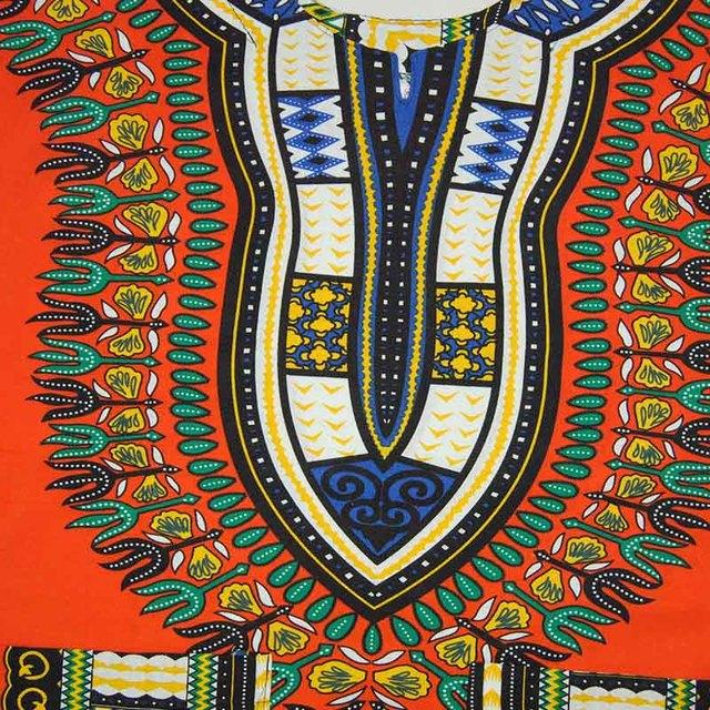 Traditional African Dashiki Shirt Orange