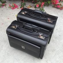 """Carrylove 19 """"inç hakiki inek deri havayolu pilot arabası bagaj kabin bavul seyahat çantası iş için"""