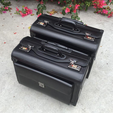 """Carrylove 19"""" inch genuine cow leather airline  pilot trolley luggage cabin suitcase travel bag for business"""