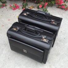 "Carrylove 19 ""zoll echtes kuh leder airline pilot trolley gepäck kabine koffer reisetasche für business"