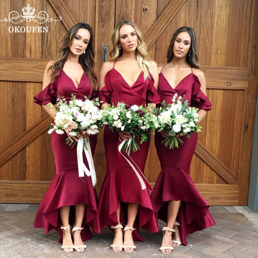 Sexy Ruffles Off Shoulder Mermaid   Bridesmaid     Dresses   Burgundy Stretchy Satin 2018 Deep V Neck Long Wedding Guest Party   Dress