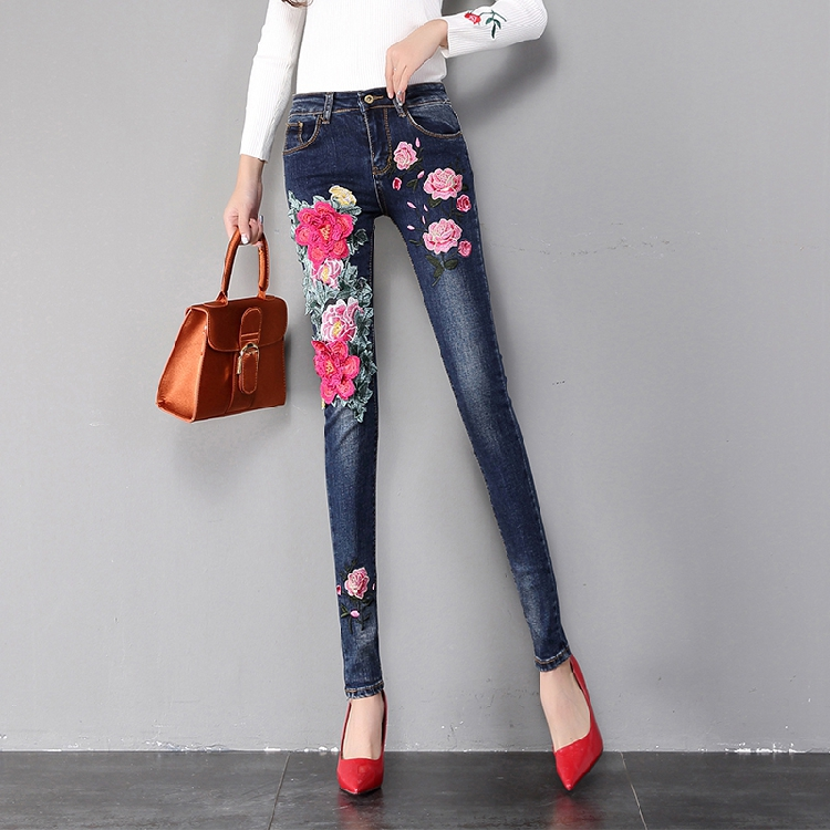 Women Flower Embroidery Jeans Peony Floral Embroidered Denim Pants Skinny Jeans Plus Size Jeans Stretch Slim Pencil Trousers