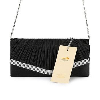 Women Satin Clutch Bag Rhinestone Evening Purse Ladies Day Clutch Chain Handbag Bridal Wedding Party Bag Bolsa Mujer 2018 XA1080 6