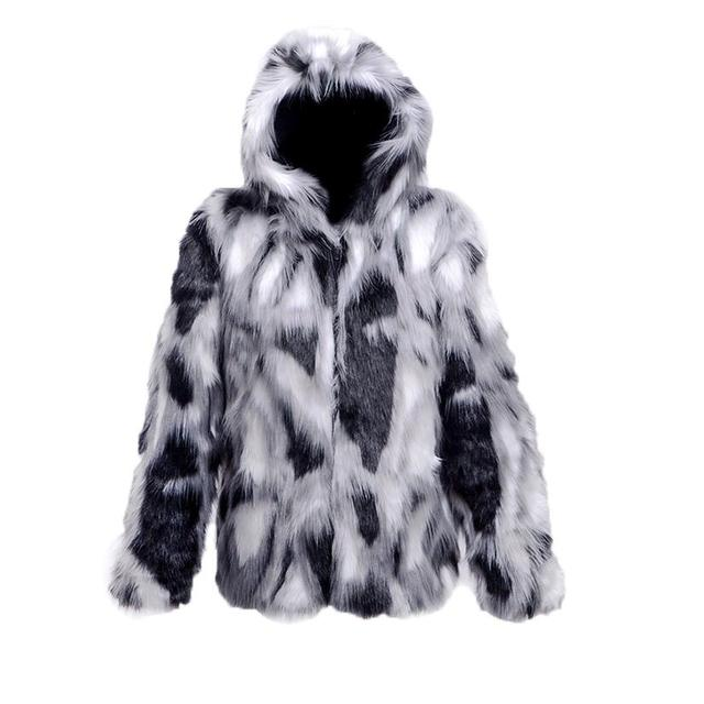 2017 Winter wild casual men's individuality Hooded faux fur coats Splice Fox fur Fashion Multi-size jacket warm fake fur coat