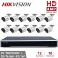 Hikvision DS-2CD2043G0-I IP Kamera 4MP Dome Kamera POE + Hikvision NVR DS-7616NI-K2/16 P 16POE 8MP Auflösung Aufnahme CCTV kits
