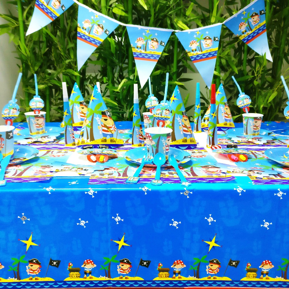 84pcs/set Baby Pirate Kids Birthday Party Decoration Party Supplies Baby Shower Wedding Pack Event Supplies Cups Plates Forks