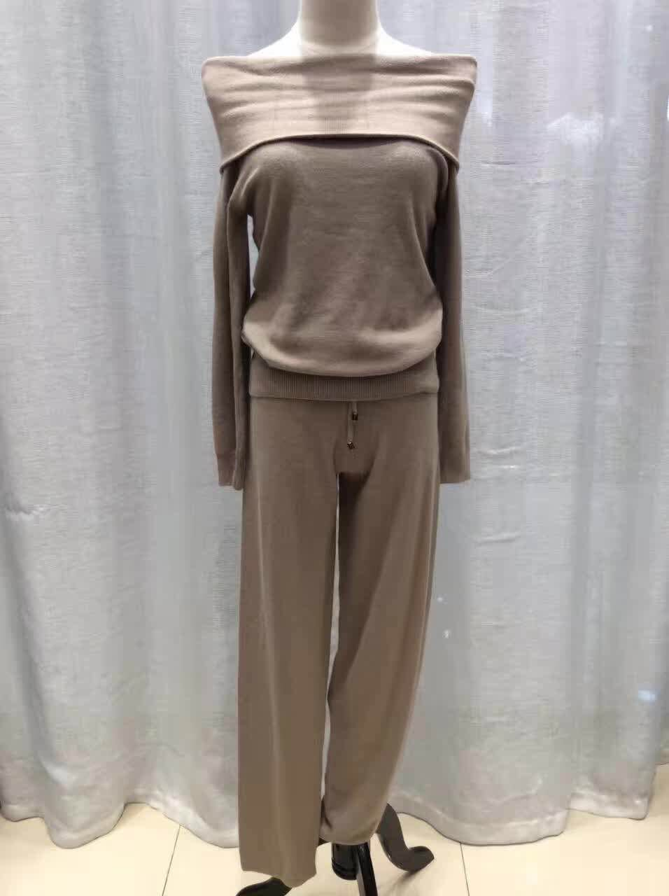 2016 Direct Selling Bamboo Fiber Wool Full Tracksuits Spring 2017 New Knit Suit Fashion Cashmere Collar