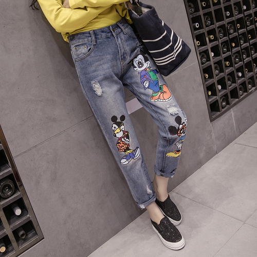 S-5XL New High Waist Women Jeans Summer Preppy Style Casual Pant Plus Size Women's Kawaii Mickey Cartoon Printed Denim Pants