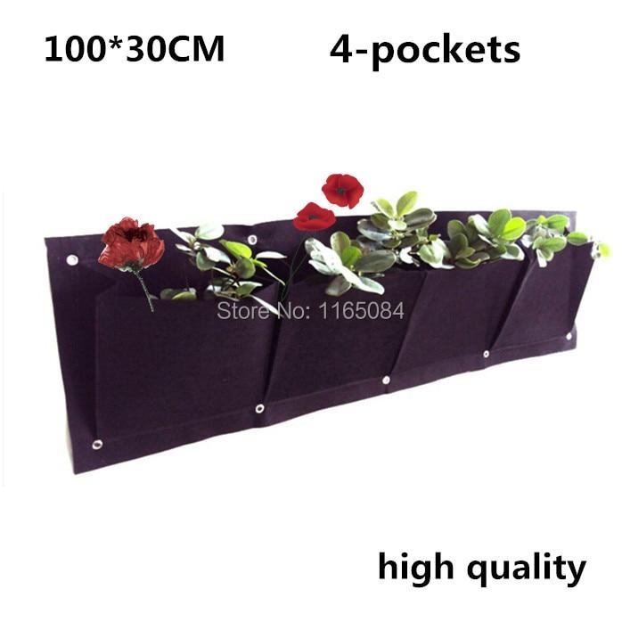 4 Pockets 400g/m2 Vertical Garden Planter Wall-mounted Home Gardening Flower Planting Bags Living Indoor Wall Planter30*100cm