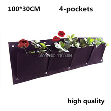 4 Pockets 400g/m2 Vertical Garden Planter Wall-mounted Home Gardening Flower Planting Bags Living Indoor Wall Planter30*100cm