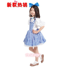 Free shipping 2016 Hot Sell Blue & White Girl Fancy Dress Dorothy Costume Outfit Halloween Costume for girls