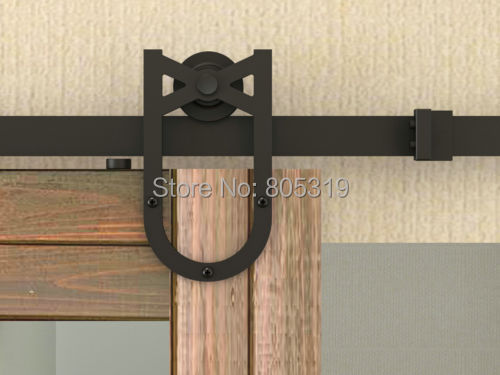 New Horseshoe American Style Sliding Barn Wood Door Hardware Rustic Black Vantige Barn Door Sliding Track