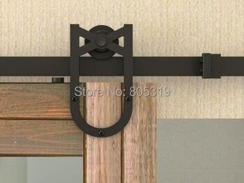 New Horseshoe American style sliding barn wood door hardware rustic black vantige barn door sliding track