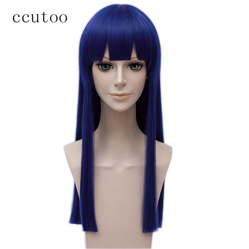 Ccutoo парик Новый Poputepipikku Pipimi Косплэй Парики Темно-Синий жаропрочных синтетических волос 60 см Косплэй парик