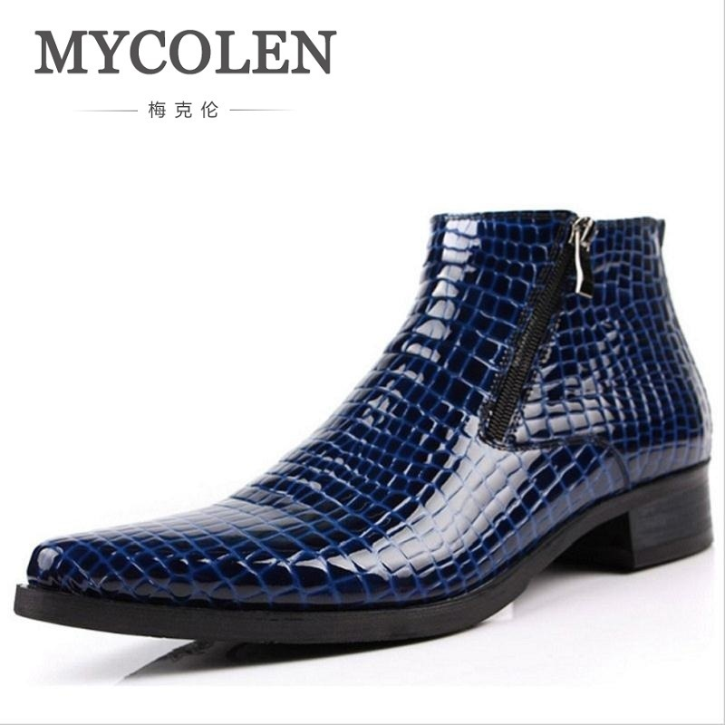 MYCOLEN Cow Leather Business Men Ankle Boots New Pattern Lace-Up Top Quality Boots England Style Genuine Leather Men Shoes