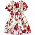 2 Цвета Детские Платья Девушки лимон цветок с коротким рукавом Платья принцессы платье детская одежда оптом
