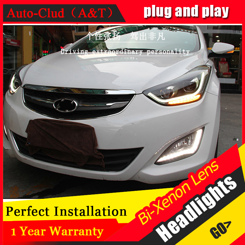 car styling For Hyundai ELANTRA headlights U angel eyes DRL 2015 For ELANTRA LED light bar