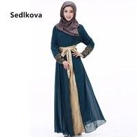 Donna musulmana Malaysia Caftano Abaya/Dubai Servizio Vestiti Robe Abito Lungo In Chiffon/Arabia Turco Abaya Marocchino di Lunghezza Del Pavimento vestito