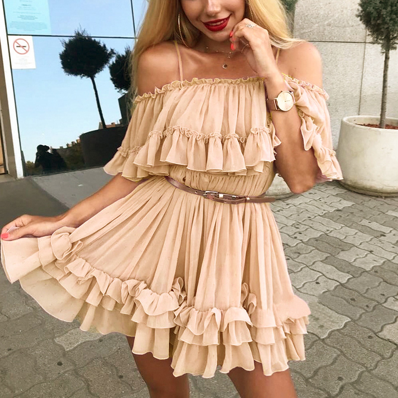 Simplee Elegant ruffle off shoulder women dress Spaghetti strap chiffon summer dresses Casual holiday female pink short sundress 6
