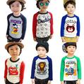 Spring Autumn T-shirt For Girls O-neck Roupas Infantis Menino Botoming Tops For Kids Different Cartoon Pattern Shirt For Boys
