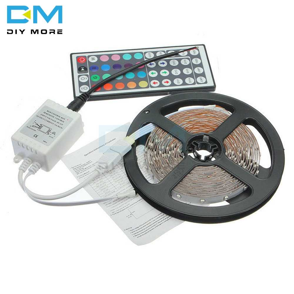 1 Set 8 Pola Cahaya DC 12V 2A 5 M 20 Warna RGB 3528 SMD Flash LED Strip Garis 44 Key Remote Control Receiver dengan Kabel