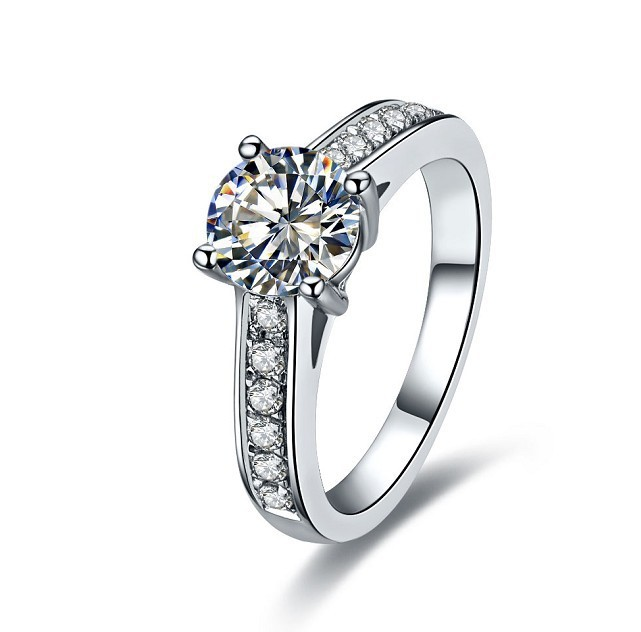 popular luxury 1ct sona synthetic diamonds engagement ring genuine 14karat white gold ring perfect jewellry gift