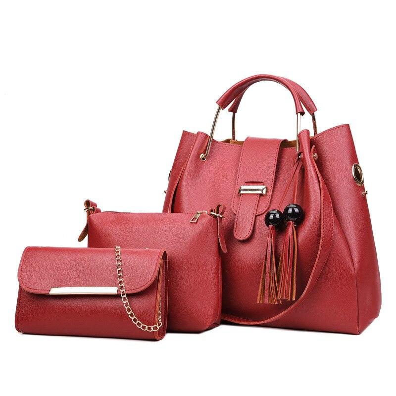 2018 new fashion wild handbag shoulder Messenger bag tassel wooden beads  three piece mother smart sets bag-in Shoulder Bags from Luggage   Bags on  ... a0f0604827