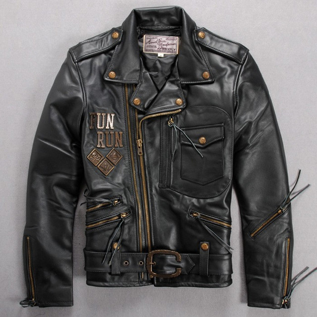 226dad3f333 Avirex fly fashion leather motorcycle jacket men black horse hide metal biker  jacket men s skull leather jacket with belt black