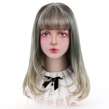 "20""Synthetic Curly Lolita Wigs With Bangs Blonde Grey Ombre Long Hair Custom Cosplay Lolita Wigs For Women Heat Resistant(China)"