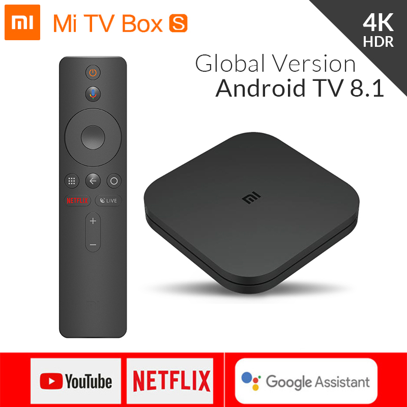 Global Original Xiao mi mi Caixa S 4 K HDR Android TV 8.1 mi Boxs 2G 8G WI-FI google Elenco mi Netflix IPTV Set Top Box 4 Media Player