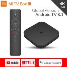 Global Originele Xiao mi mi box s 4K hdr ANDROID TV 8.1 MI boxs 2g 8g WIFI google Cast Netflix IPTV Set Top mi doos 4 media Player