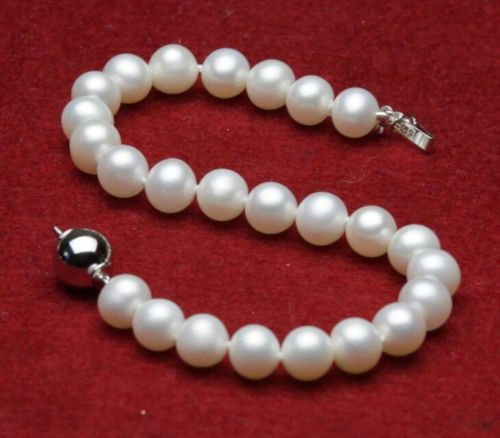 "FREE SHIPPING>>>@@ new 7-8mm Genuine Natural White Freshwater Akoya Pearl Bracelet 7.5""H0+01"