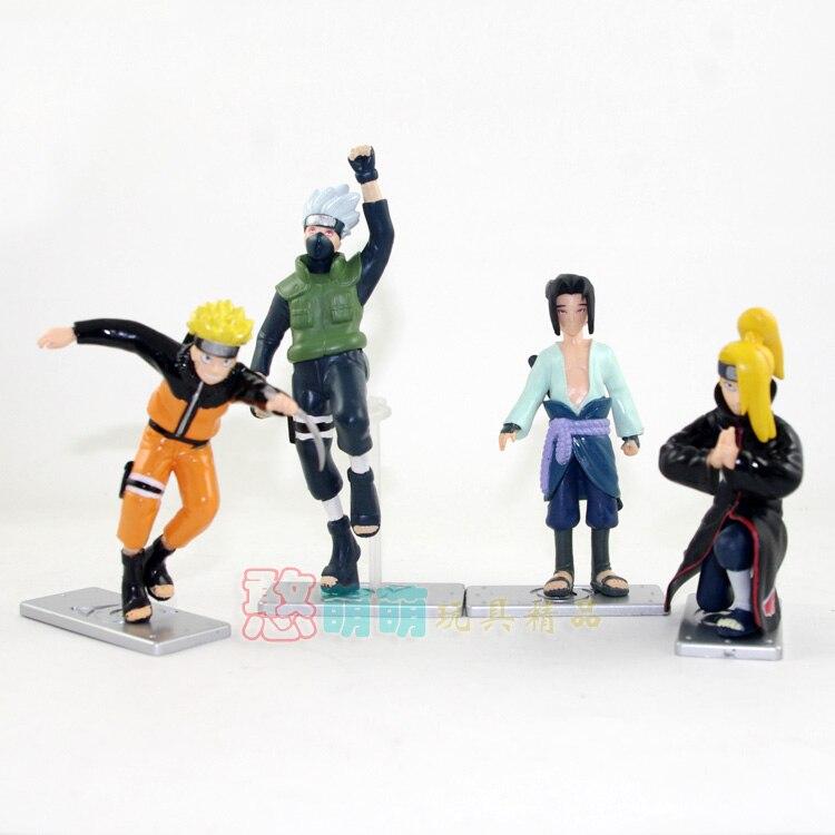 Anime Naruto Uzumaki Naruto Uchiha Sasuke Hatake Kakashi Deidara PVC Action Figures Collectible Model Toys 4pcs/set NTFG062 shfiguarts naruto shippuden uzumaki naruto sasuke hatake kakashi pvc action figure collectible model toy 14cm kt3762