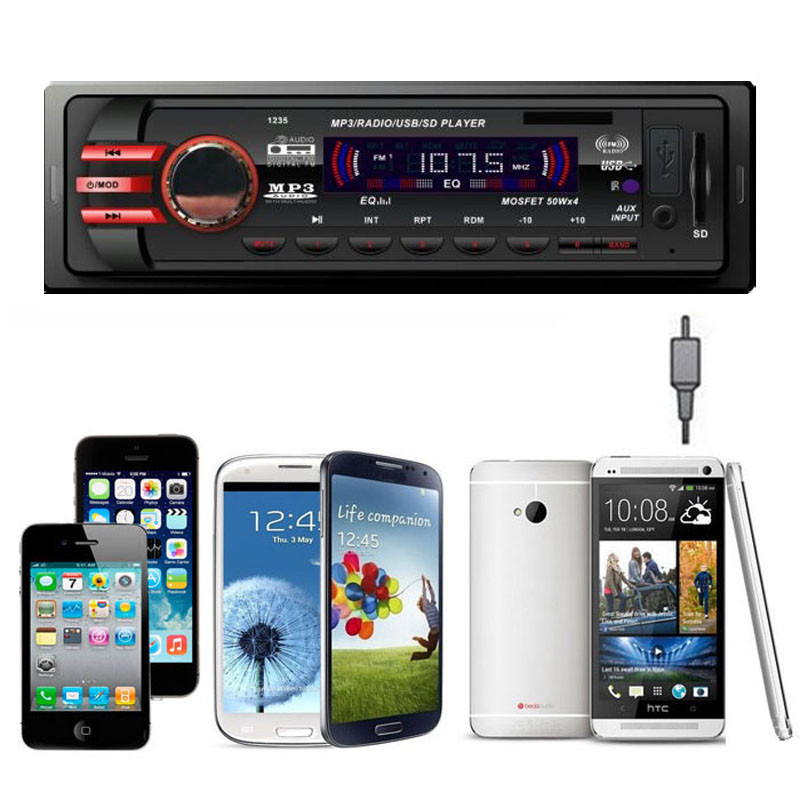 Car Audio Stereo In Dash FM With Mp3 Player USB SD Input AUX Receiver 1235 Radio Cassette Player Car Accessories