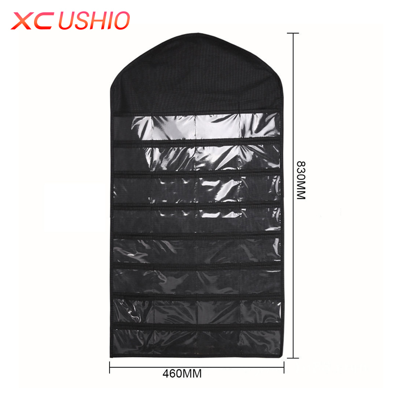 XC USHIO Dual Sided Jewelry Hanging Storage Bag 32 Pockets Earrings Necklace Holder Stored Jewelery Organizer Display Pouch