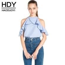 HDY Haoduoyi осень 2017 г. модные женские туфли, Синий оборками Лоскутная футболка Cold Shoulder Halter Повседневное свободная футболка