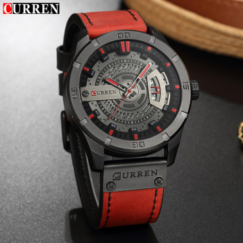 Leather Quartz Men Watch Casual Sport Clock 1